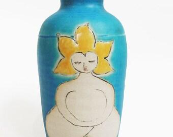 Ceramic Vase. Turquoise Vase. Mother Earth Flower Vase. In stock