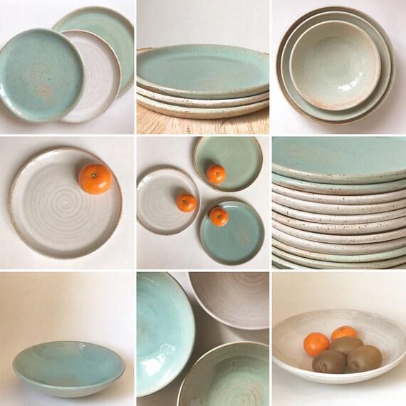 Stoneware Hand-thrown ringmini bowl White and turquoise In stock.