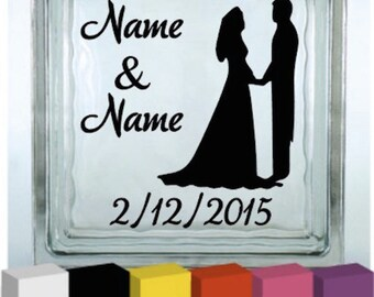 Personalised Wedding Day Vinyl Glass Block / Photo Frame Decal / Sticker/ Graphic
