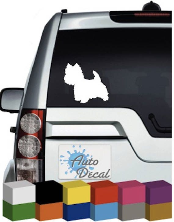 Dog on Board Decal West Highland White Terrier V02 Car Window Sticker Westie