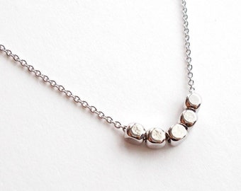Tiny Silver Beaded Necklace - Thin Dainty Minimal Chain Necklace - Simple Everyday Delicate Minimalist Jewellery - Short Necklace or Choker