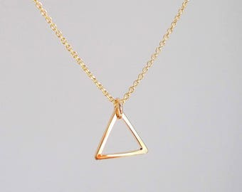 Tiny Gold Triangle Necklace - Plated or Gold-filled -  Short Necklace or Choker - Thin Dainty Minimal Geometric Necklace