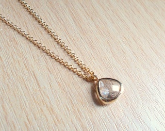 Tiny Clear Crystal Gold Necklace - Plated or Gold-filled - Thin Dainty Minimal Necklace - Minimalist Wedding, Bridesmaids, Jewellery Gift