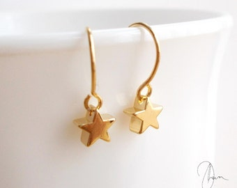 Tiny Gold or Silver Star Earrings - Micro Dangle Earrings - Dainty Minimal Barely There Jewellery