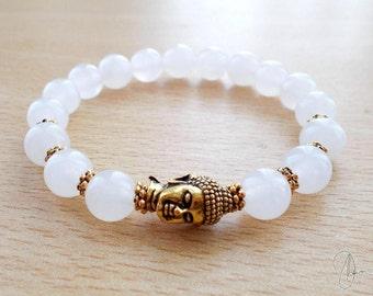 Snow Quartz Buddha Bracelet - Yoga Meditation Beaded White Gemstone Crystal Bracelet - Boho Spiritual Reiki Crown Chakra Stone Jewelry
