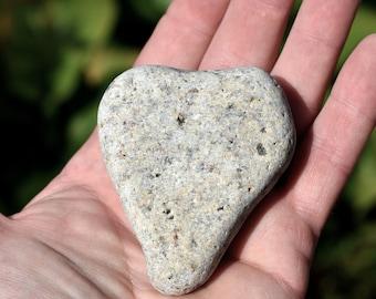 Perfect heart shaped beach rock, found beach surf tumbled heartrock