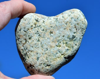 Colorful granite heart shaped beach rock, genuine natural found on the surf, ocean tumbled