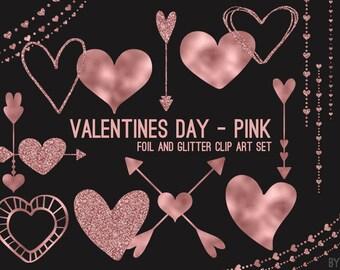 Gold Pink Heart Art Etsy