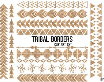 Tribal Pattern Borders in Antique Copper Foil Aztec Clipart Commercial Use Graphics Digital Clip Art Digital Images Royalty Free PNG