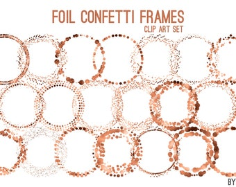 Copper Confetti Round Frames Foil Circle Clip Art 20 Image PNG File 8in Commercial Use Graphics Digital Clipart