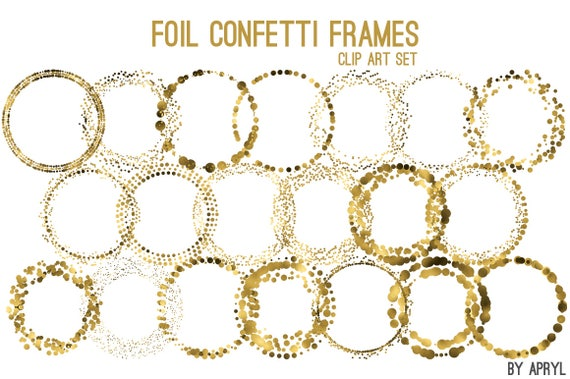Gold Confetti Round Frames Foil Circle Clip Art 20 Image PNG