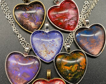Hand-painted, heart necklaces w/ iron oxide, silver & brass settings, lots of colors, makes a great gift!