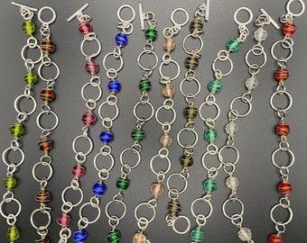 Glass & metal link bracelets - 10 colors!