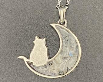 Moonstone cat & moon pendant, silver