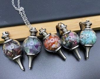 Glass gemstone necklace globes - amazonite, bloodstone, carnelian, rainbow fluorite & rainbow tourmaline