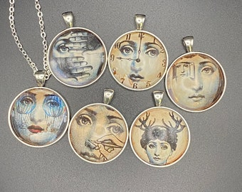 Avant Garde iron oxide collage necklaces - silver setting, faces