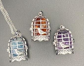 Birdcage gemstone lockets - silver with amethyst, aquamarine or carnelian