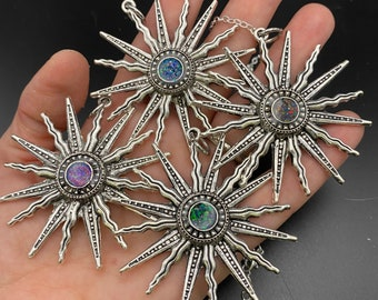 Opal starburst necklace, antique silver setting, oversized pendant