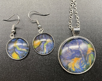 Van Gogh-inspired collage necklace w/ optional matching earrings - Irises, iron oxide, silver or bronze setting
