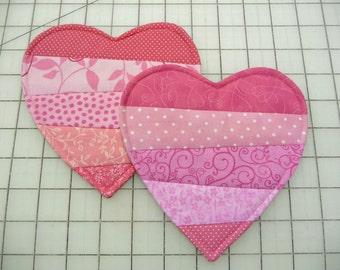 2 Heart Mug Rugs  - Coasters - Set of Two