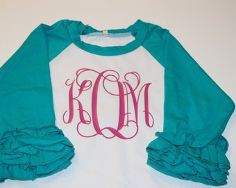 Personalized Christmas Frame Cotton Toddler Long Sleeve Ruffle Shirt Top