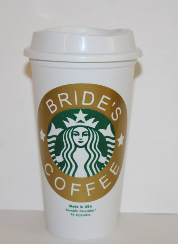 Personalized Bride Starbucks Cup Decal Monogrammed Starbucks Etsy