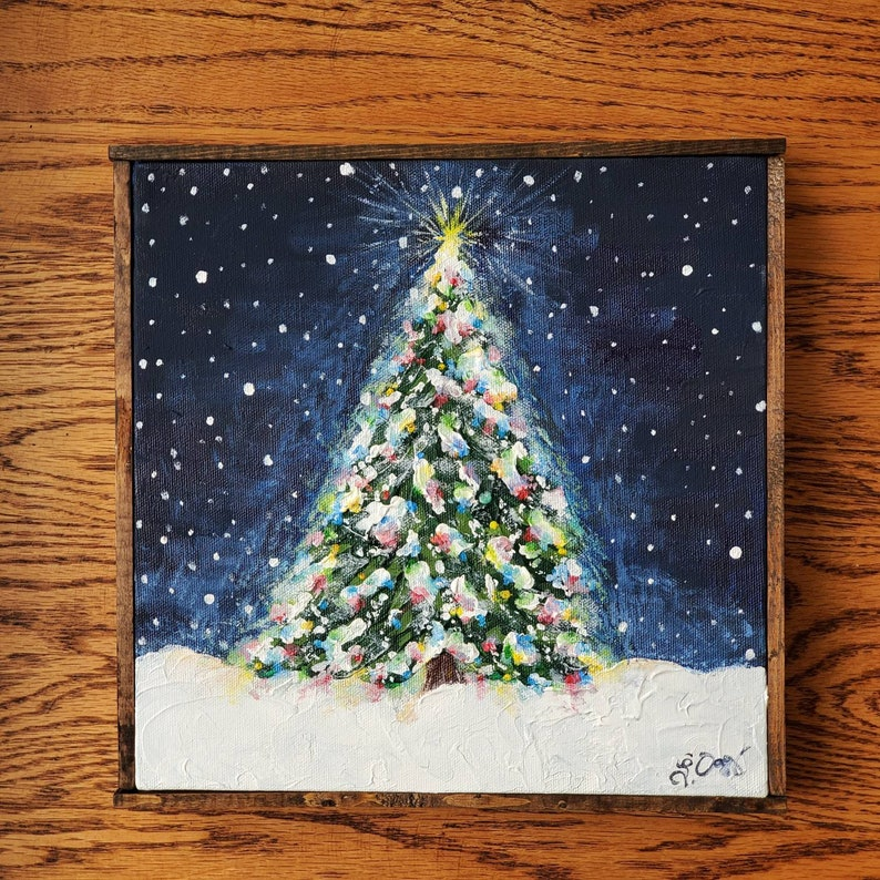 Christmas tree outside in the snow acrylic painting on canvas