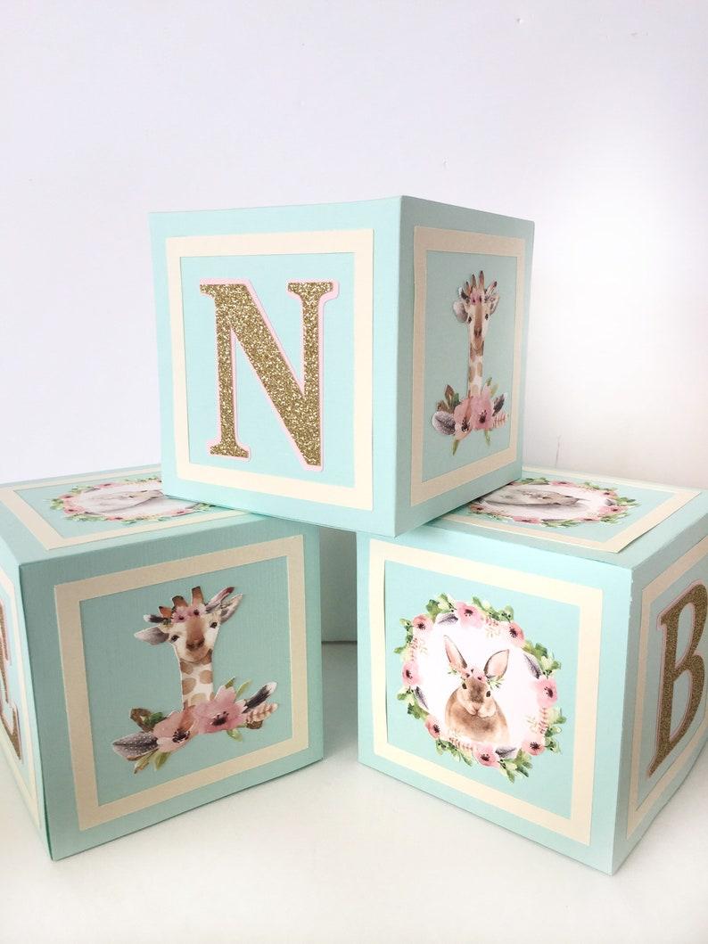 Forest Friends Baby Shower Decorations Woodland Animals Baby Shower Centerpiece Alphabet Block