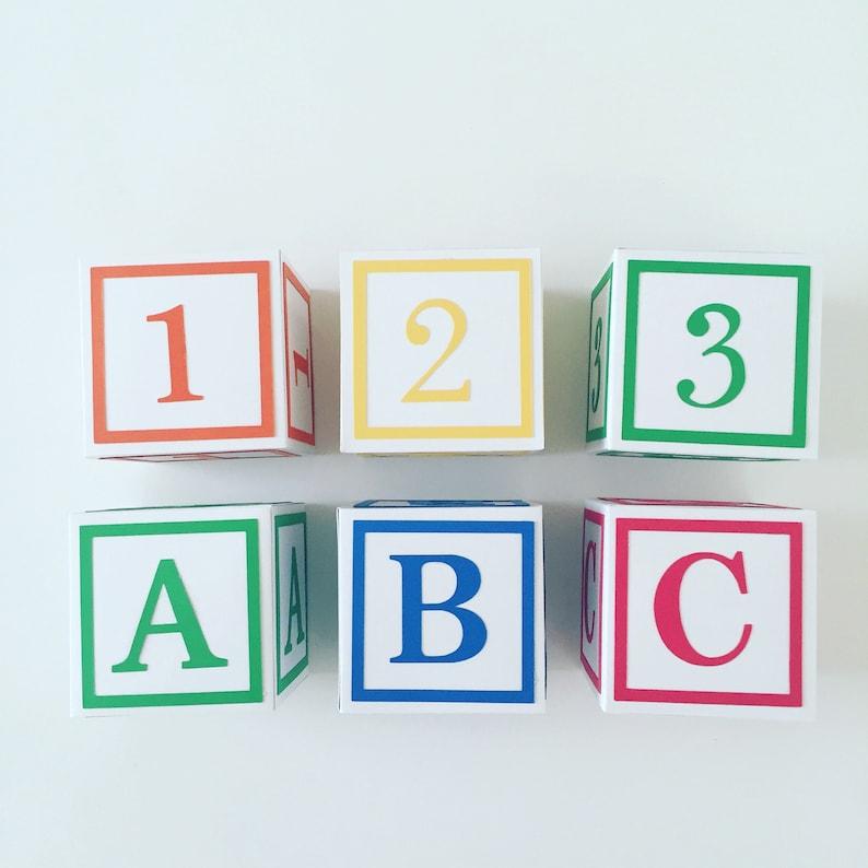 white ABC primary Color  baby shower decorations Alphabet Block Centerpiece