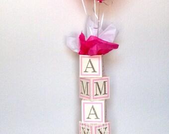 Baby shower centerpiece, alphabet block centerpiece, baby shower decorations