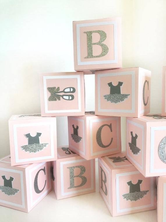 Ballerina Baby Girl Shower Decorations Baby Shower Girl Centerpieces Alphabet Block