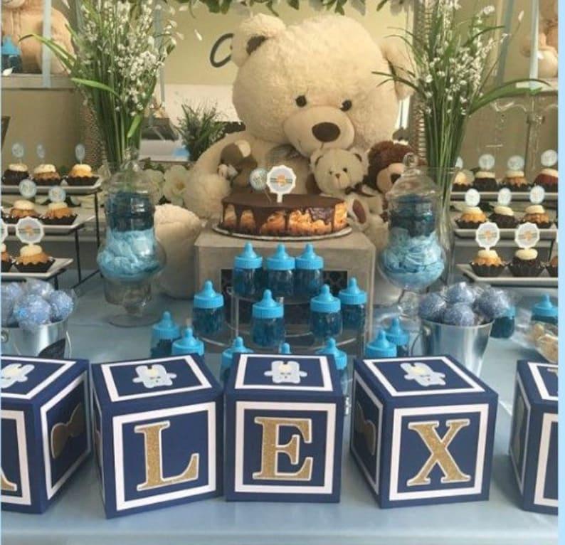 Teddy bear baby shower decorations Boy Baby Shower Alphabet Block