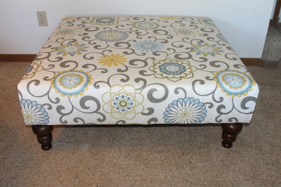 fabric covered ottoman items similar to 40 quot square fabric covered ottoman with 15178 | il 570xN.530904764 btzf