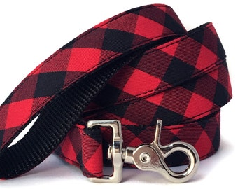Red Buffalo Plaid Dog Leash - Red and Black Gingham Leash - A Great Choice for Winter Walks - Red Plaid Dog Lead
