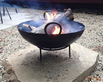 """Medium Recycled Steel Firebowl / Fire Pit From India W/ BBQ Grill Grate and Stand, 23.5"""" Dia, Made From Stamped Steel, Outdoor Cooking, BBQ"""