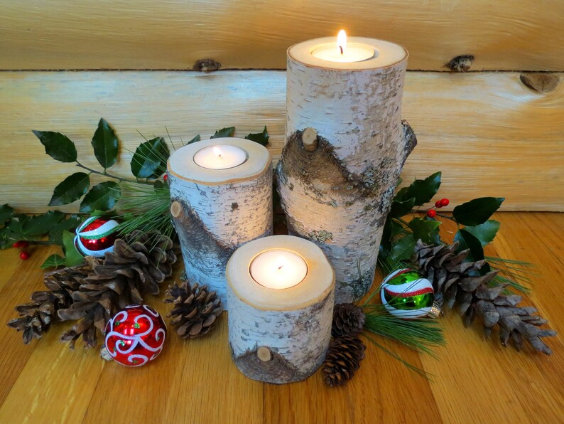 set of 3 with tea lights Birch Candle Holders..