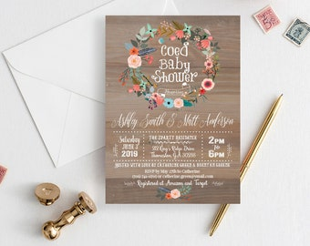 Coed baby shower etsy co ed rustic baby shower invitation coed floral coed printable boho baby shower invitation girl baby shower blush bohemian template f1 filmwisefo