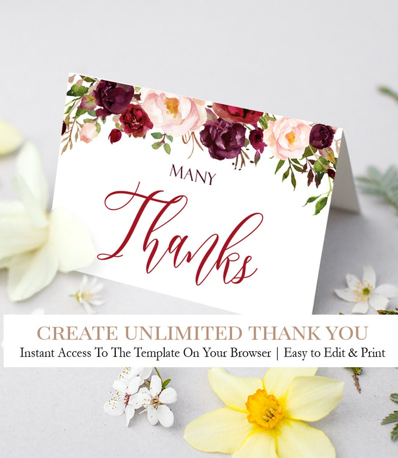 Boho Thank You Card Printable Girl Baby Shower Thank Yous Etsy