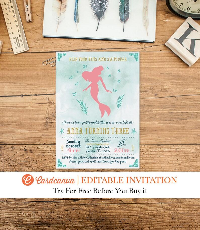 Little Mermaid Birthday Invitation Mermaid 1st Birthday