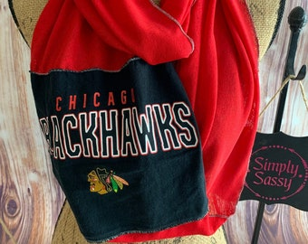 Chicago Blackhawks Infinity Team Scarf Upcycled T/Shirt