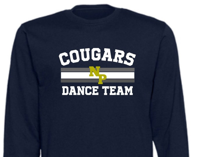 New Prairie Dance Team Unisex Long Sleeve T-Shirt in Grey or Navy Youth or Adult