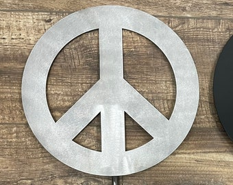 Peace Sign Cut Steel Yard Art Garden Decoration