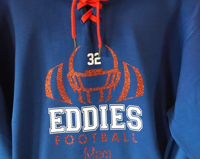 Edwardsburg Eddies High School Football Mom Hockey Style Hooded Sweatshirt