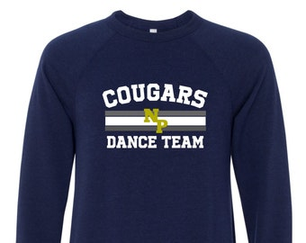 New Prairie Dance Team Unisex Crew Neck Sweatshirt in Grey or Navy, Youth or Adult