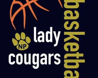 "New Prairie Cougars Girls Basketball ""Design B"" Spirit Wear T-Shirts and Sweatshirts"