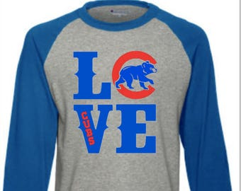 Love Chicago Cubs Champion Raglan Shirt