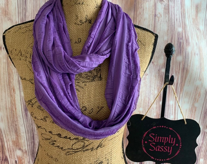 Soft and Flowy Ruffled Purple Infinity Scarf