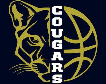 "New Prairie Cougars Girls Basketball ""Design A"" Spirit Wear T-Shirts and Sweatshirts"
