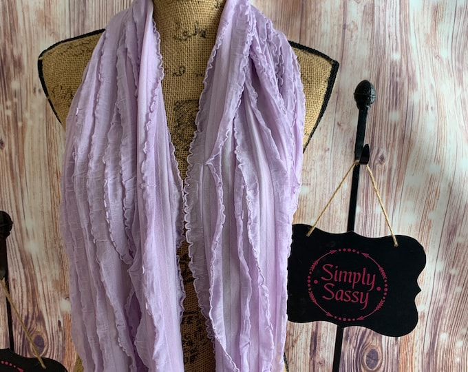 Soft and Flowy Ruffled Light Purple Infinity Scarf