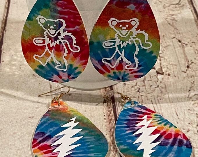 Tie Dye Grateful Dead Lightening Bolt or Dancing Bear Dangle Earrings